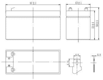 Габаритные размеры аккумулятора Delta DTM 12012