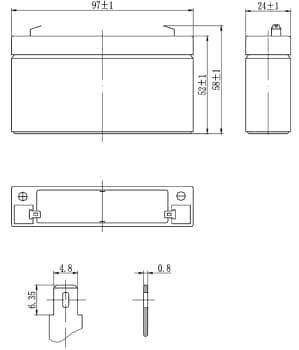 Габаритные размеры аккумулятора Delta DTM 6012