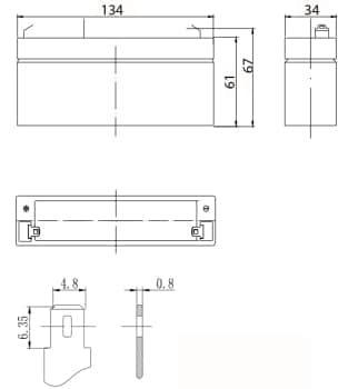 Габаритные размеры аккумулятора Delta DTM 6032