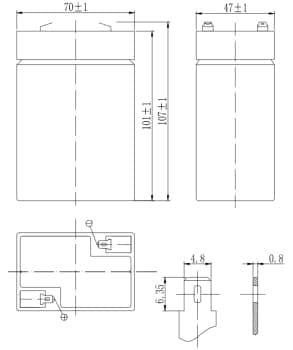 Габаритные размеры аккумулятора Delta DTM 6045