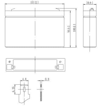 Габаритные размеры аккумулятора Delta DTM 607