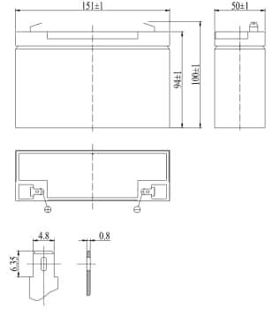 Габаритные размеры аккумулятора Delta DTM 612