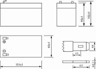 Габаритные размеры аккумулятора Delta DT 1207