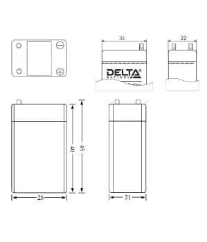 Габаритные размеры аккумулятора Delta DT 4003