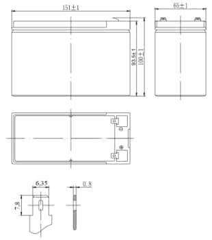 Габаритные размеры аккумулятора Delta DTM 1207